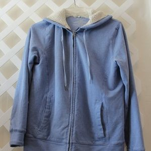 Ladies Blue LL Bean Zip UP Hooded Jacket Size SM